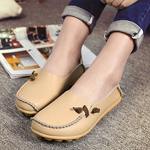 SCIEU Women's Leather Slip-On Loafers Driving Moccasins Casual Flat Shoes Beige x0vfXkkdj4