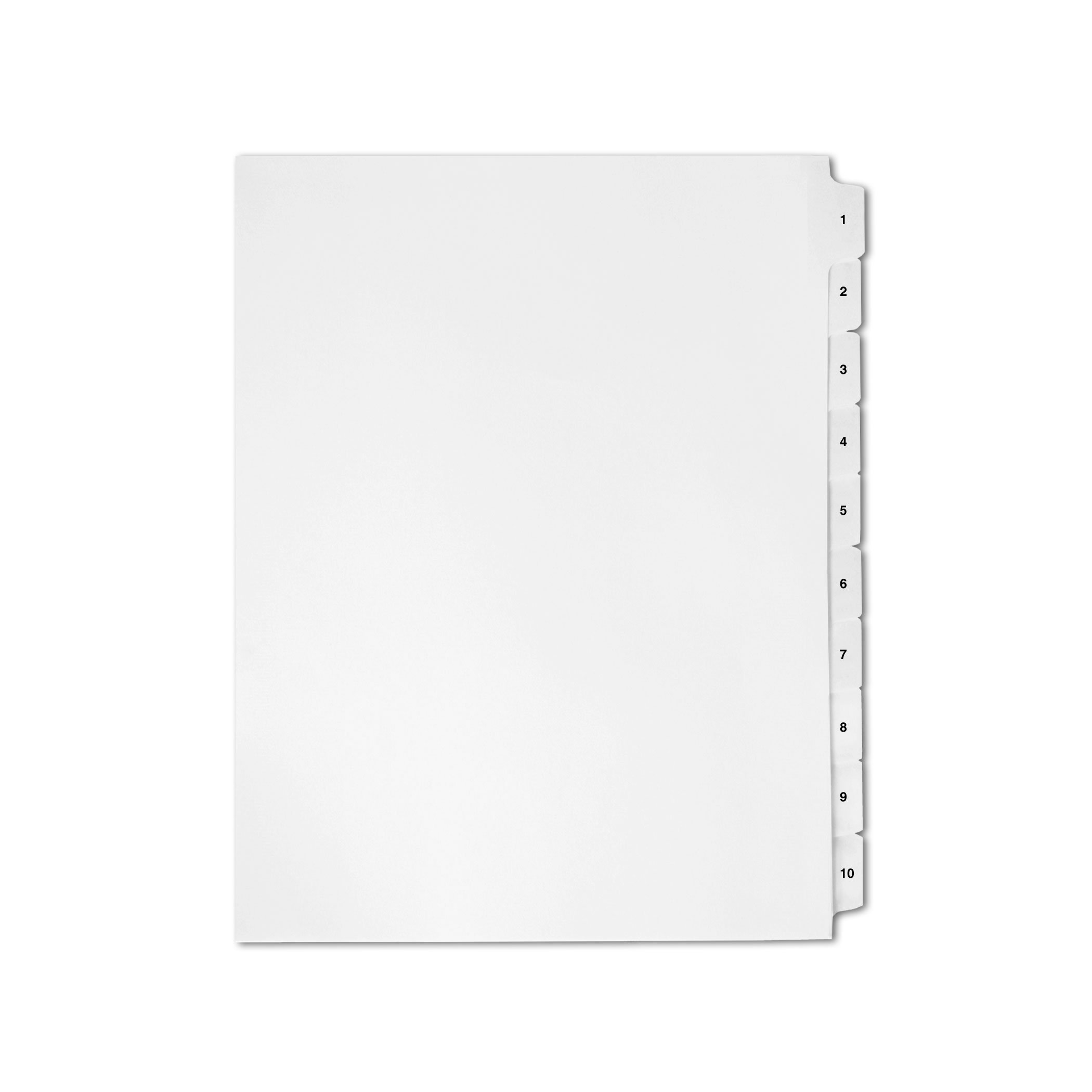 AMZfiling Numbered Side Tab Index Dividers 1-10, Compatible with Avery- 10 Tabs, Collated, Letter Size, White (20 Sheets/pkg)