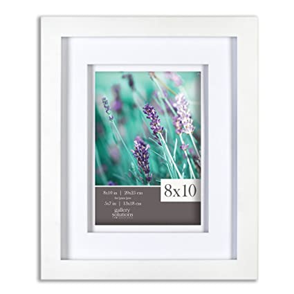Amazon.com: Gallery Solutions 8x10 White Wood Frame with Double ...