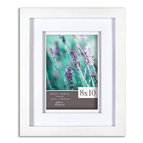 gallery solutions 8x10 white wood frame with double white mat for 5x7 image 12fw1117 - White Wood Frame