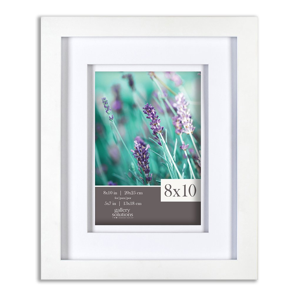 Gallery Solutions 8x10 White Wood Frame with Double White Mat For 5x7 Image
