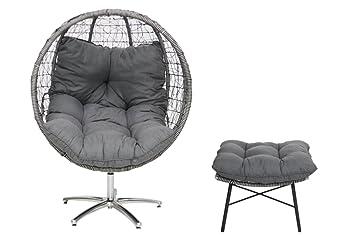 Amazon De Testrut Rattan Sessel Ei Mit Fusshocker Design Sitz Kugel