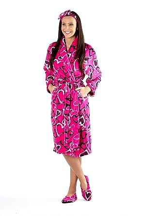 Ladies 3 Piece Dressing Gown Bathrobe Slippers Headband Sets Soft ...