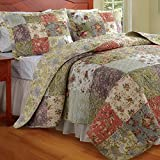 Cottage Country Floral Patchwork Reversible Quilt Bedding Set Full/Queen Size - Includes Bed Sheet Straps
