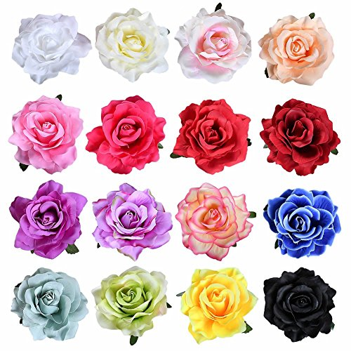 inSowni 16 Pack Big Rose Flower Hair Clips Brooch Pins Accessories for Women Girl Bridal (16PCS S1)