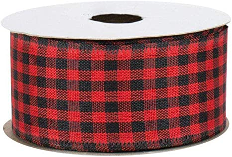 """10 Yards Christmas Red Green Black Blue Yellow White Plaid Wired Ribbon 4/""""W"""