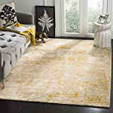 Safavieh Porcello Collection PRL7739C Grey and Yellow Modern Abstract Area Rug (6'7' Square)