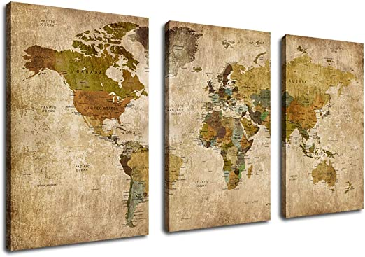 Bedroom Office Maps Home Decor Large Coloured Metal World Map Wall Art Picture