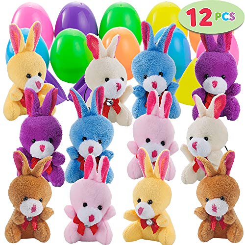 "12 PCs Filled Easter Eggs with Plush Bunny, 2.25"" Bright Colorful Easter Eggs Prefilled with Variety 3.5"" Plush ()"