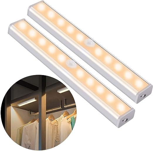 OUSFOT Luz Noctura Luces LED Armario con Sensor Movimiento Lampara Nocturna Recargable USB con 3 Modos Luz Cálida para Armario Pasillo Escalera Sótano Cocina Graje Gabinete (2 pack): Amazon.es: Iluminación
