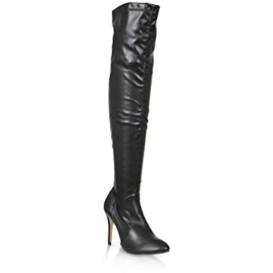 30abce3e251 NEW WOMENS LADIES POINTED TOE ABOVE THE KNEE STILETTO HEELS BOOTS SHOES  SIZE 4-10