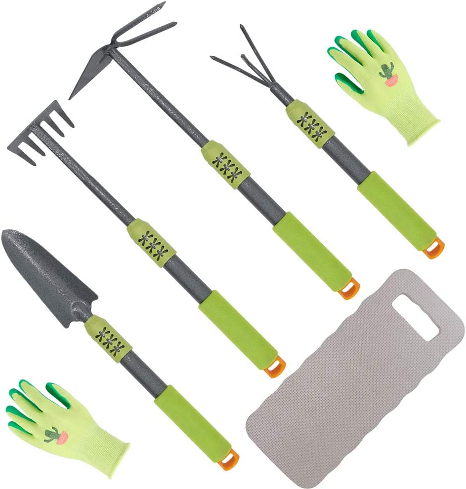 Hortem 6PCS Long Garden Hand Tools, Handle Hoe,Cultivator, Garden Rake,Trowel with Comfortable Non-Slip Grip Handle, Long Garden Hand Tools Set Include Garden Gloves