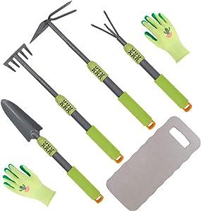 Hortem 6PCS Long Garden Hand Tools, Handle Hoe,Cultivator, Garden Rake,Trowel with Comfortable Non-Slip Grip Handle, Long Garden Hand Tools Set Include Garden Gloves