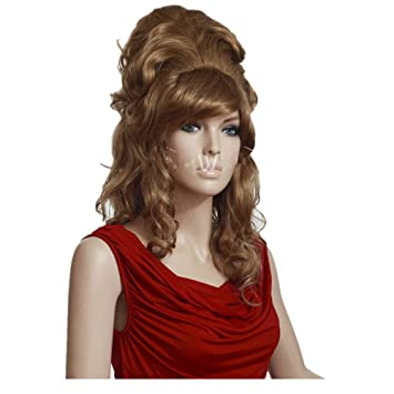 EDAY Blonde Updos Wigs Long Curly Bouffant Long with Full Fringe Bangs  Synthetic Hair Wig for b9c855187