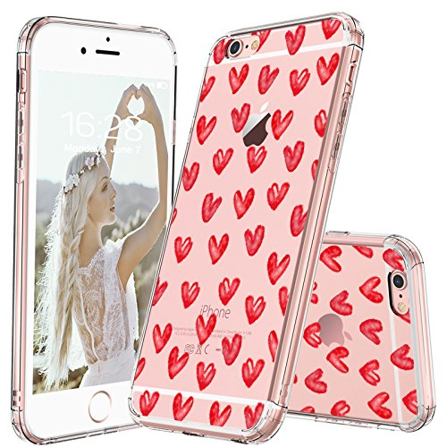 MOSNOVO iPhone 6S Plus Case/iPhone 6 Plus Case, Love Hearts Pattern Printed Clear Design Transparent Plastic Back Case with TPU Bumper Protective Case Cover for iPhone 6 Plus/iPhone 6S Plus - Hearts Design Phone Cover