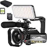 ORDRO Videokamera 4k videokamera 1080P 60FPS IR nattvision videoinspelare 3,1 tum IPS pekskärm WIFI videokamera med…