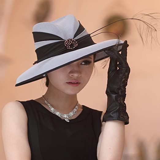 Women Hat Big Flower Summer Dress Hat Chiffon Fabric Grey black at ... 63d1d8ad8e6e
