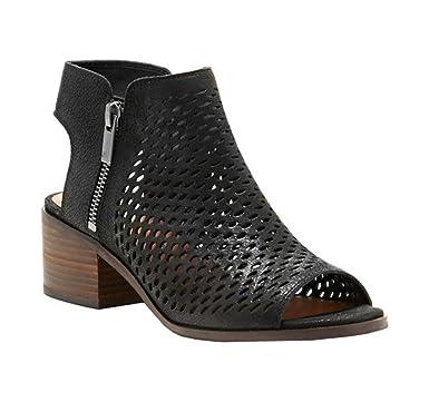 ae13a625caa Amazon.com  Womens Peep Toe Cutout Sandals Side Zipper Chunky Low ...