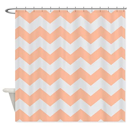 CafePress Peach Gray Chevron Stripe Shower Curtain Decorative Fabric 69quot