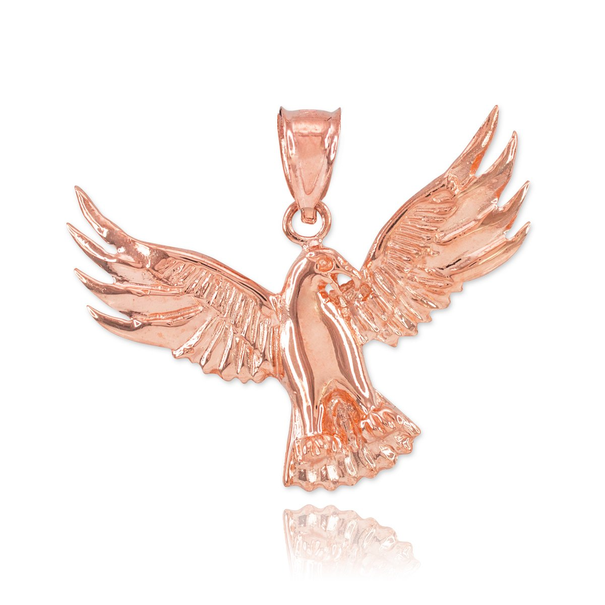 Fine 14k Rose Gold Firebird Charm Phoenix Necklace Pendant