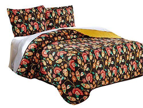 (DaDa Bedding Collection Marigold's Elegant Autumn Garden Reversible Quilted Coverlet Bedspread Set - Bright Vibrant Floral Multi Colorful Solid Mustard Yellow & Brown - Twin - 2-Pieces.)
