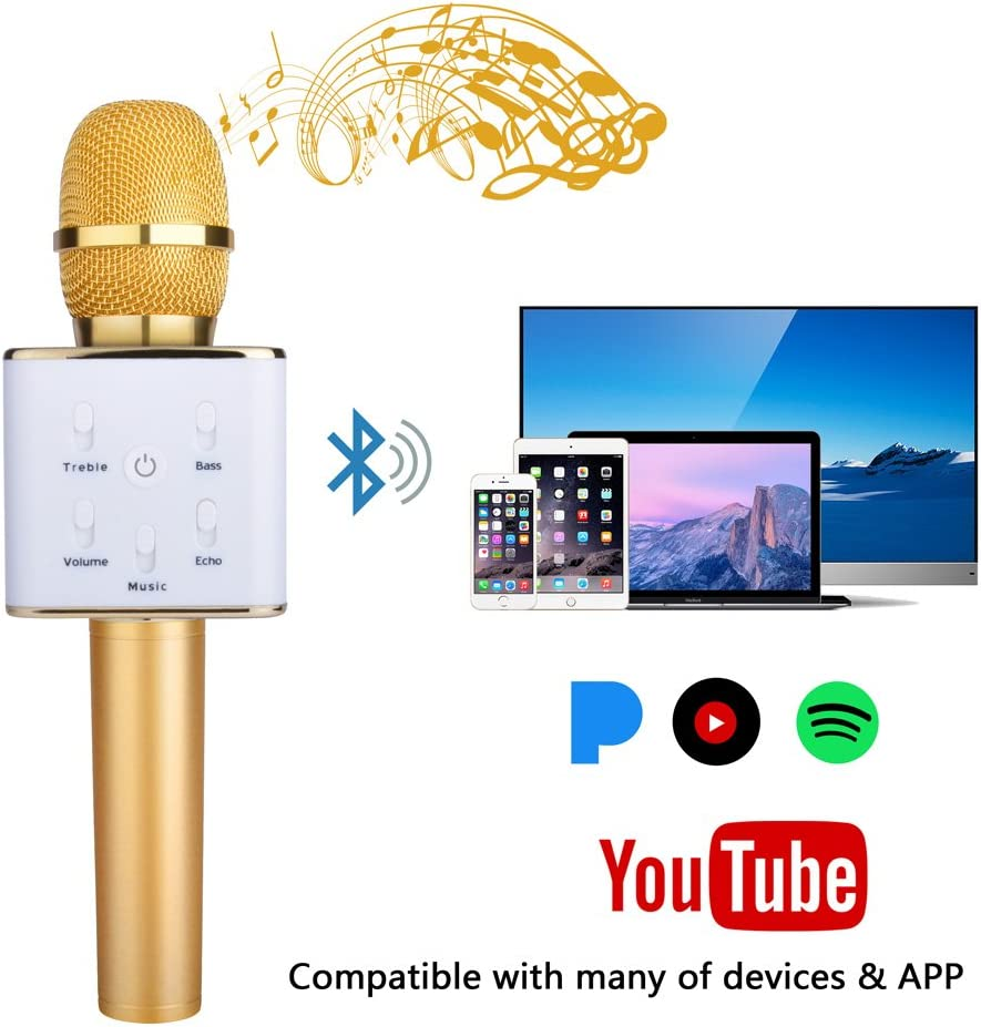 Portable Wireless Bluetooth Microphone Karaoke Speakers Mic with equalizer for Playing Music and Singing// Recording compatible with Apple iPhone// iPad Android Smartphone or Smart TV//PC