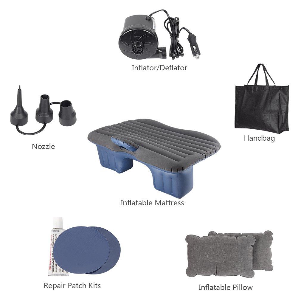 HAITRAL Car Inflatable Bed Protable Camping Air Mattress with 2 Air Pillows Universal SUV