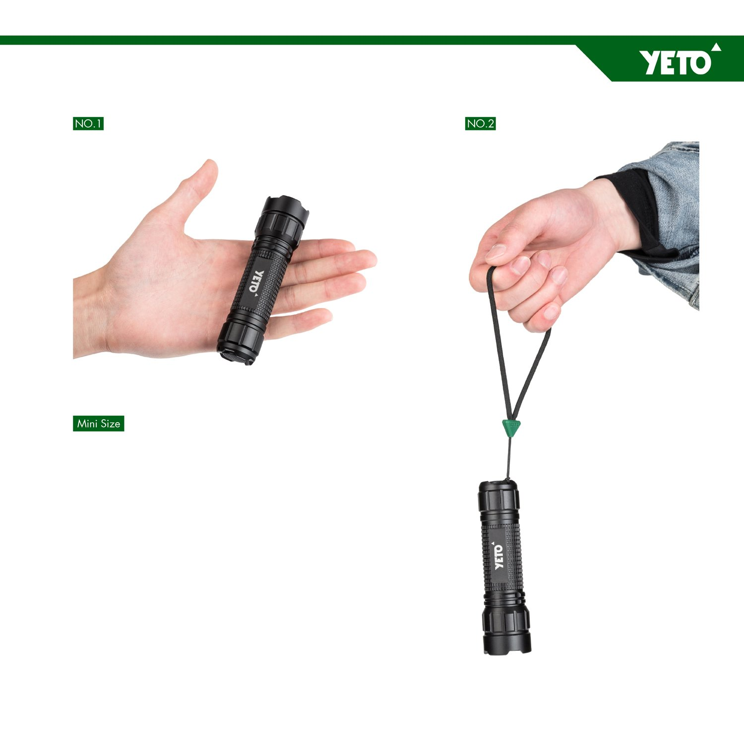 YETO Three-modes CREE XPG 5W LED Zoomable Self-defense Flashlight Torch