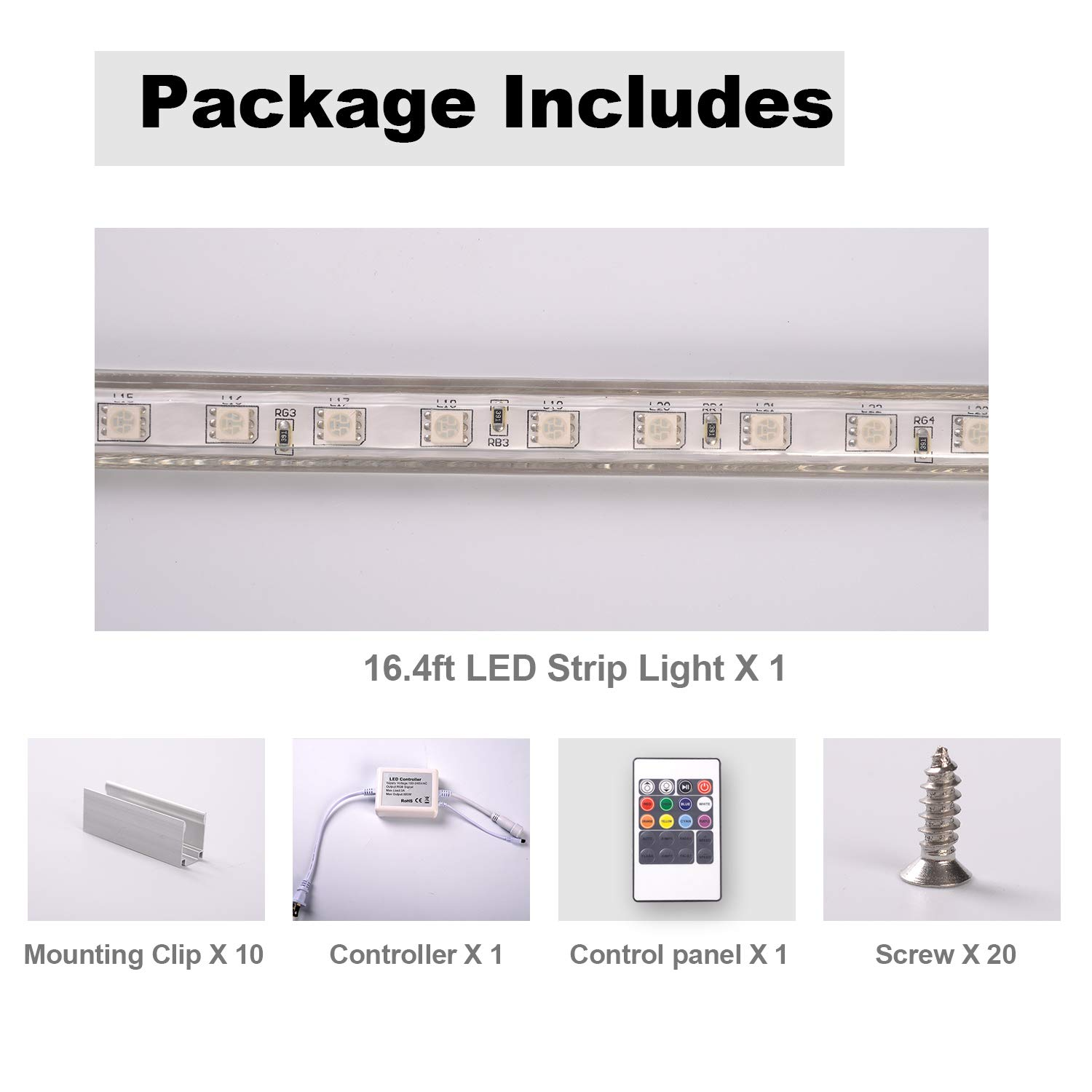 32.8FT//10M 110V SMD5050 60 LEDs//Meter GZBTECH RGB High Voltage LED Light Strips Plug in IP65 Waterproof Flex Color Changing Dimmable String Lights with Remote for Indoor and Outdoor Decoration