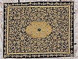 Jewel Carpet Wall Hanging – Royal Gold Zardozi Kashmiri Handicraft from India ~ 24 Inch x 18 Inch