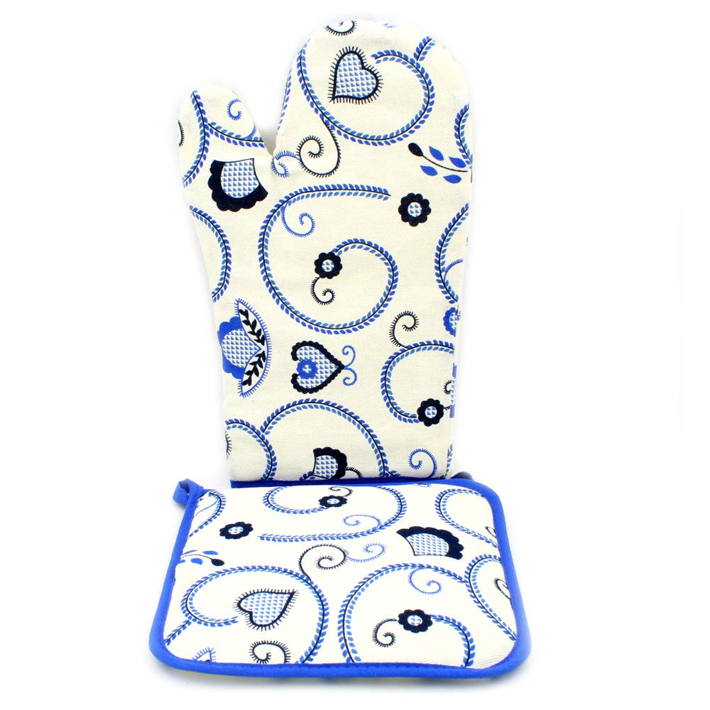 Limol 100% Cotton Oven Mitt and Pot Holder Set Made in Portugal (Blue)