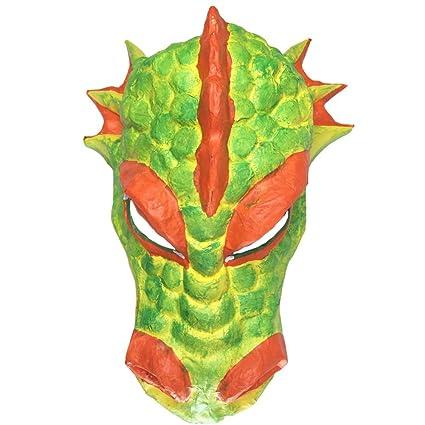 Dragón de fuego Naranja trabajado mano máscara de teatro