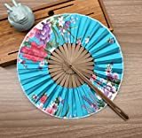 Blue Gift Bag And Charming Floral Print Japanese Style Vintage 100% Silk Bamboo Hand Fan Wedding Party Supplies