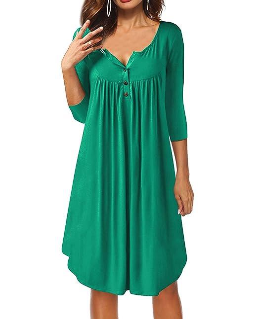 c38277746e5 ZILIN Women s Casual Long Sleeve V Neck Button T-Shirt Dresses Knee Length  (Green