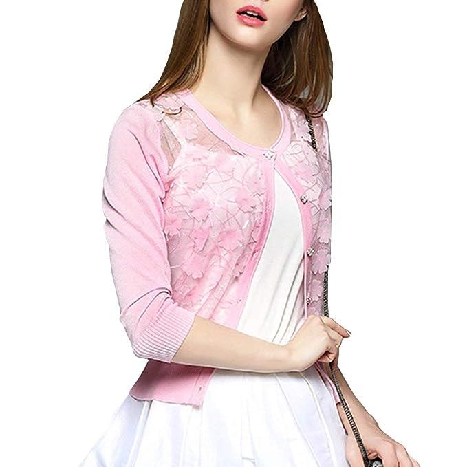Mujer Camisas Hipster Casual Hueco Abrigos Corto Primavera Negocios Splice Encaje Manga Larga Color Sólido Botonadura Sweater Moda Joven Día Chaqueta: ...