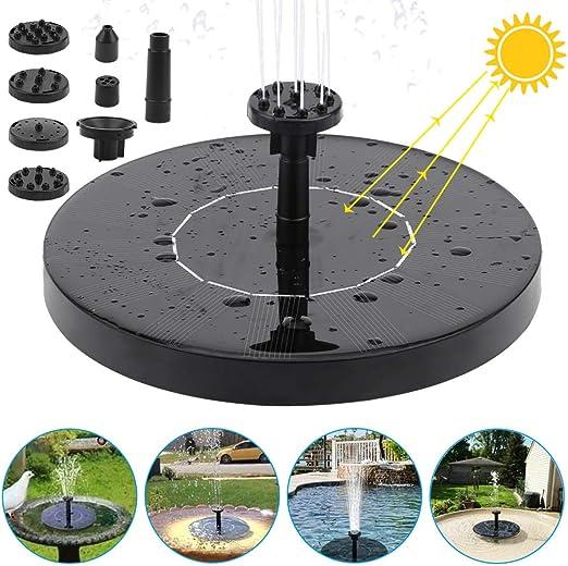 FEALING Fuente Solar Bomba, 1.5 W Fuente de Jardín Solar, Panel Solar Flotante con 6 boquillas para Fuente para jardín, baño de pájaros, Estanque, pecera (Negro): Amazon.es: Jardín