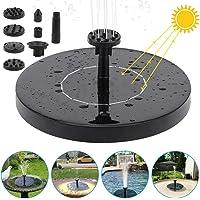 FEALING Fuente Solar Bomba,1.5 W Fuente de Jardín Solar, Panel Solar Flotante con 6 boquillas para Fuente para jardín, baño de pájaros, Estanque, pecera (Negro)
