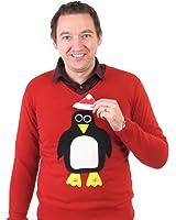 Woolly Babs V neck Christmas Jumper Pablo Penguin