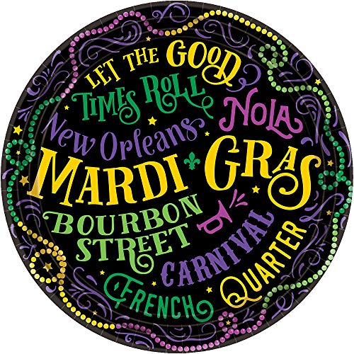 Amscan Good Times Mardi Gras Plates 9 Inches 60 Count ()