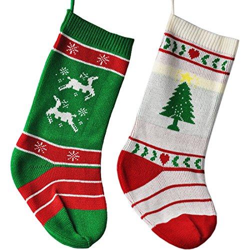MAZU 22.5 Knit Christmas Stockings 2017 Newly Design Handmade Santa Fireplace Ornaments Hanging Decor Christmas Trees Snowflake Reindeer Set of 2 (Reindeer-Christmas Tree)