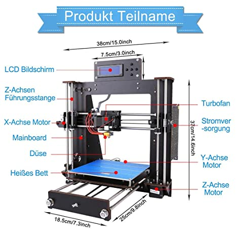 GUCOCO A8 3D Printer Upgraded Full Quality High Precision Reprap Prusa i3  DIY 3D Printer with 1 75mm ABS/PLA Filament(Build Size 200×200×180mm) (A8