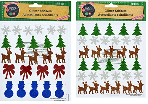 Foam Glitter Craft Adhesive Stickers for Christmas Theme (Bundle of 2 Packages - 1 Snowflakes, Trees, Reindeer, Bows, & Snowmen, & 1 Trees, Snowflakes, Snowmen, Reindeer, & Bows)