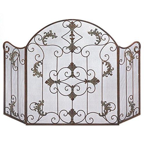 Thegood88 Antique Style Wrought Iron Italian Design Folding Fireplace Screen