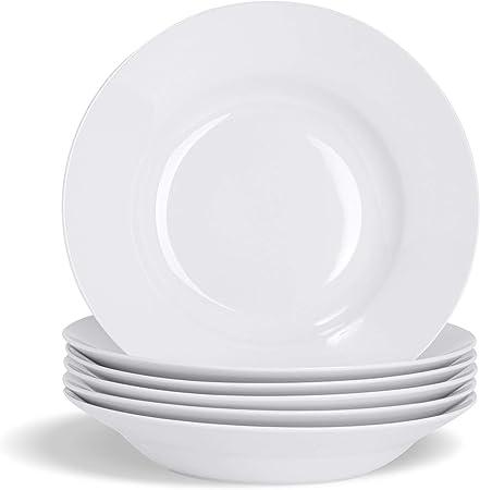 Oferta amazon: Argon Tableware Juego de Platos hondos Blancos para Sopa o Pasta - Borde Ancho - 230mm - Pack de 6