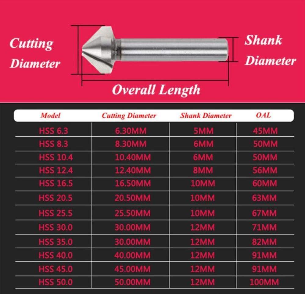Drill Bits 6.3-45mm HSS 3 Flute 120 Degree Chamfer Countersink Drill Bits-45mm 16.5mm