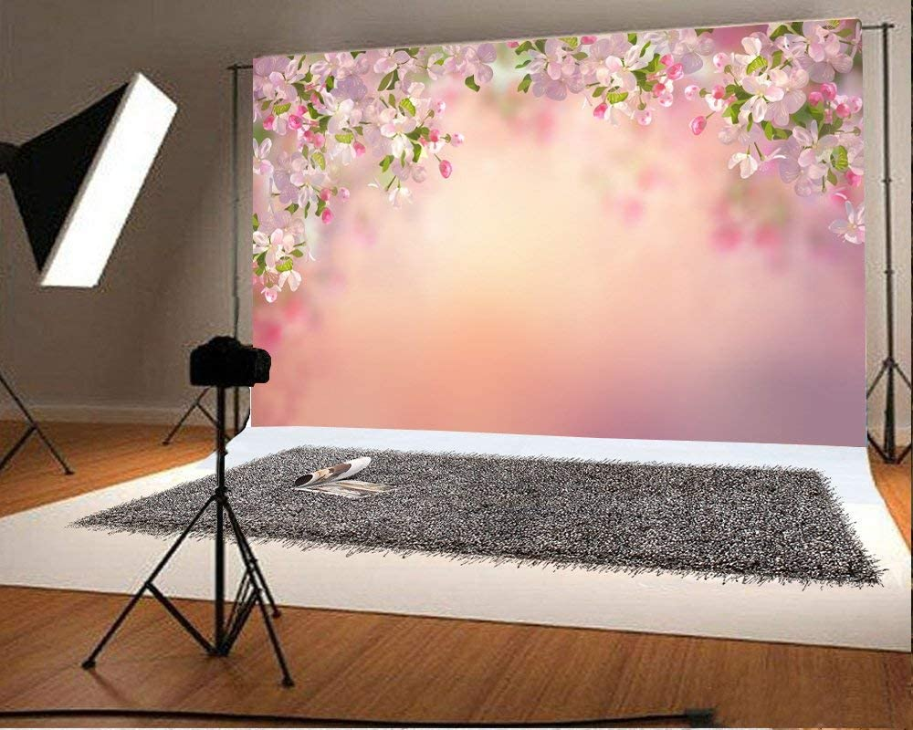 Pear Blossoms Backdrop 5x3ft Spring Flowers Dreamlike Pink Bokeh Background for Photography Studio Props Valentines Day Moghers Day Lovers Children Adults Shooting Back Drops