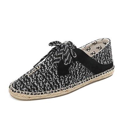 Zapatos de lona para hombre 2018 Zapatos planos de lino nuevos Mocasines planos Zapatos con cordones