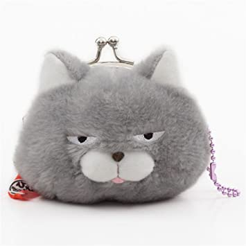 Amazon.com: Soft funny grey cat plush Manjyu purse wallet ...