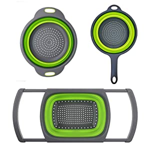 Huanlemai 3-Packs Green Silicone Kitchen Collapsible Colander Set - 6-Quart Square Over The Sink Colander + 4qt Round Veggies/Fruit Basket Strainers and Colanders +2qt Pasta Strainer With Handle