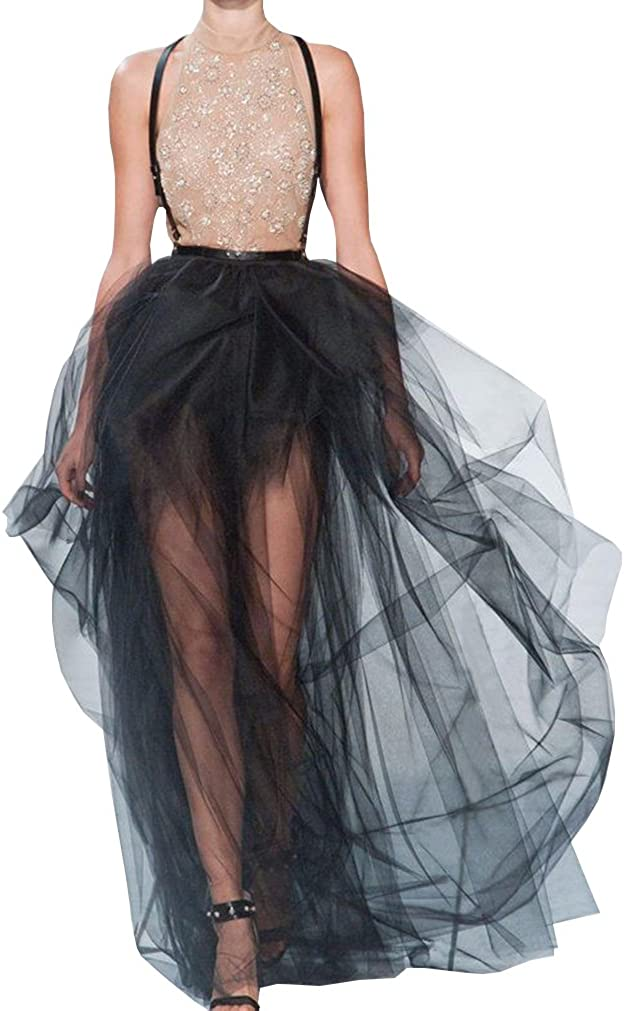 Wedding Planning Womens Tulle Ruffles Sheer Evening Party Skirt